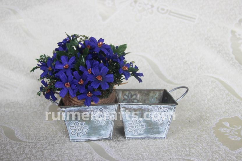 Square Antique Metal Double Pots