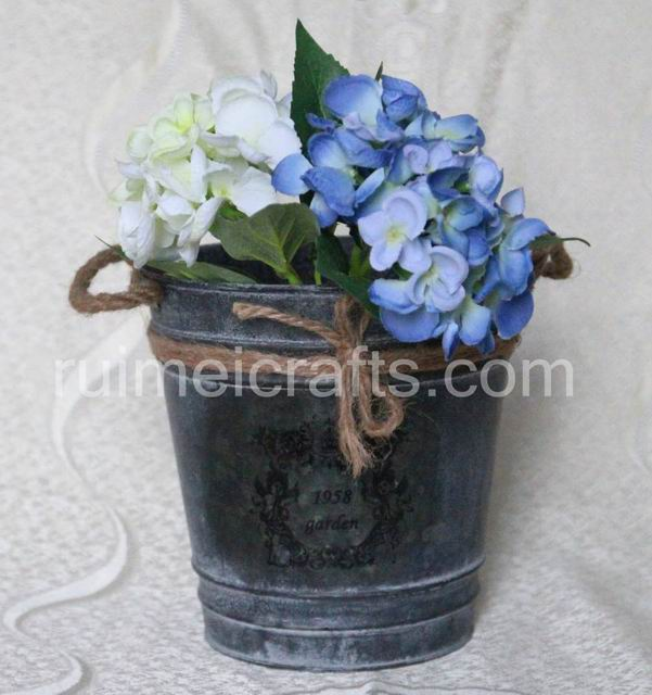 Antique Iron  Flower Pots with Straw Handles