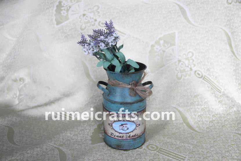 Metal Flower  Paper Decal Jug With Handle