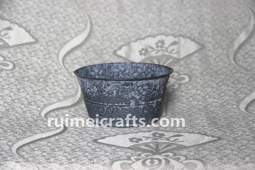 Antique Iron Flower Pots With Emboss