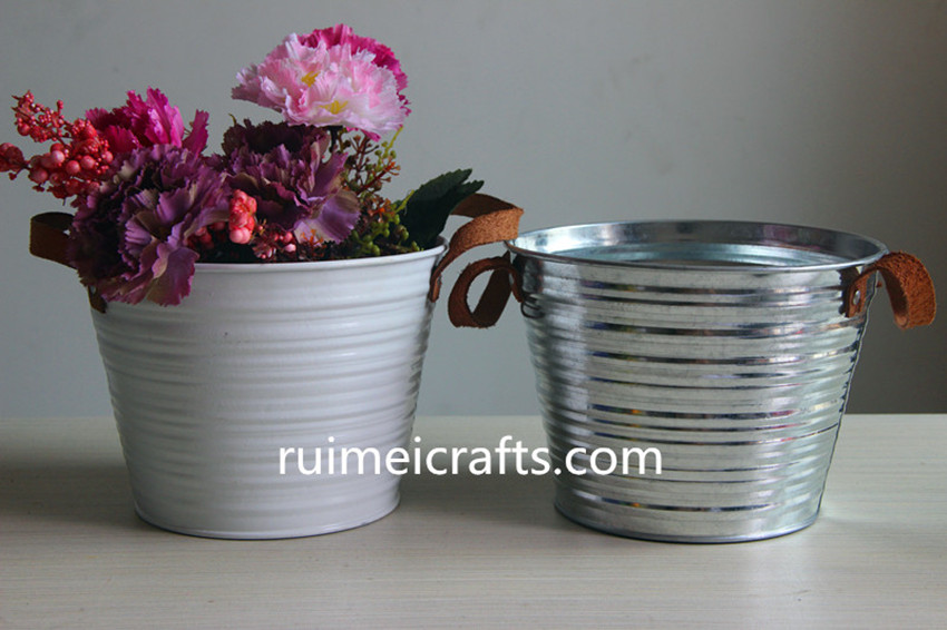 metal iron sheet buckets leather handles