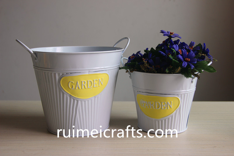 glossy paint white pail set of 2 metal bucket