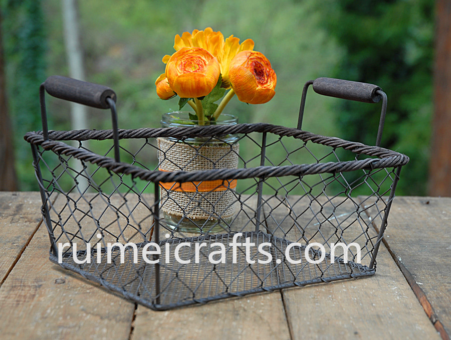 retro rectangle metal wire basket