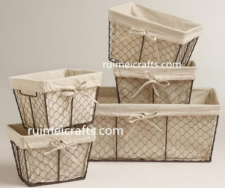wire baskets with cloth liner