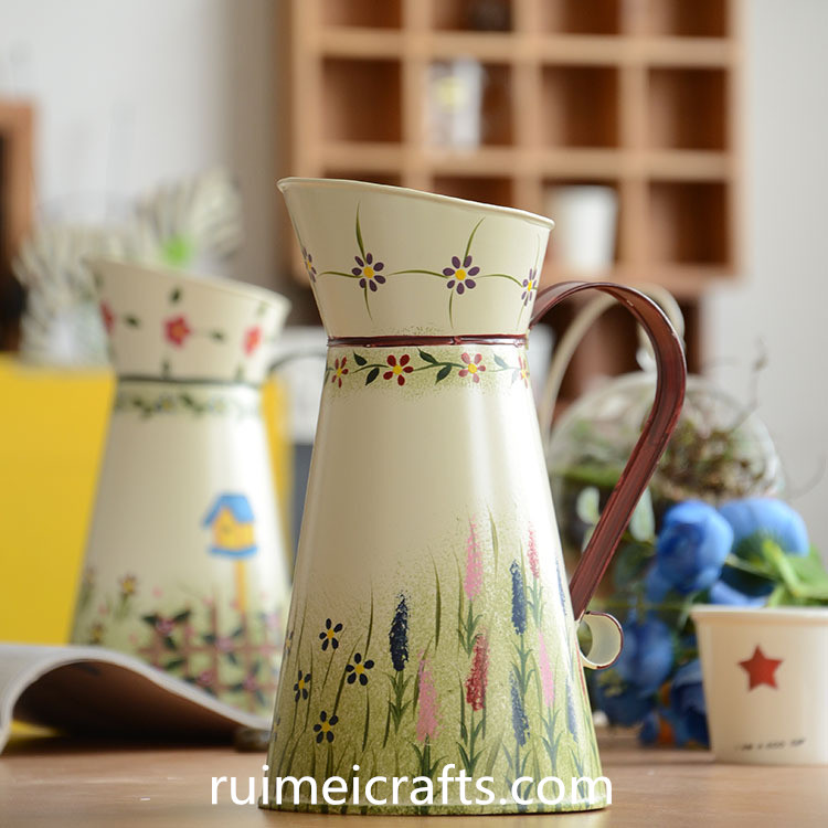 metal pastoral style hand painted watering can
