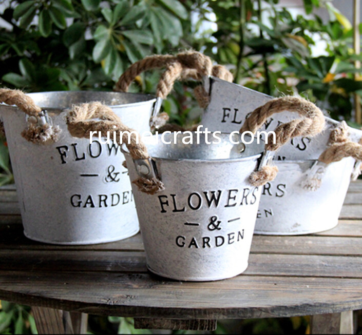 vintage flowers & garden metal pot with sisal handles