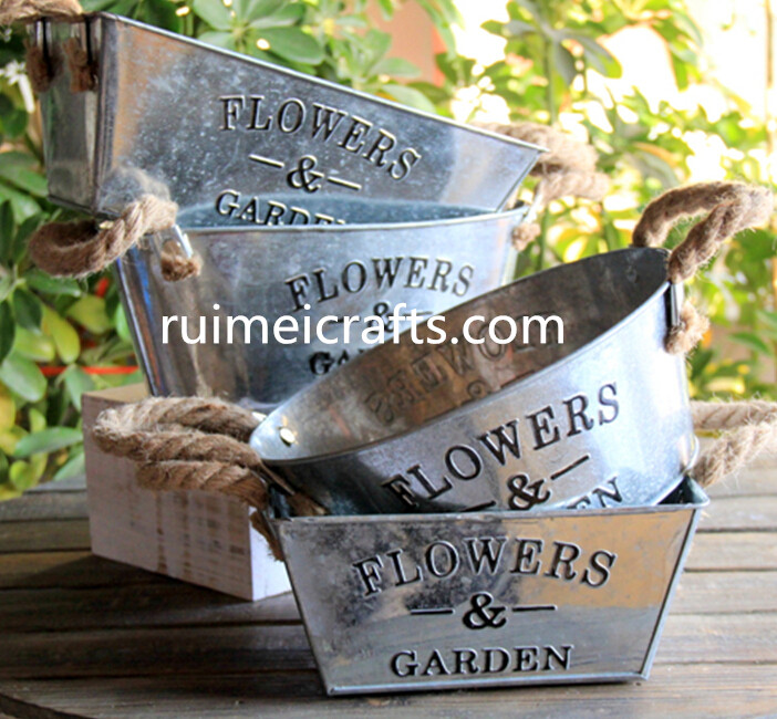 galvanizing metal garden planter with sisal ears