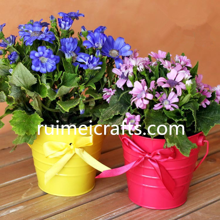 American Village candy color printing metal flower bucket pot planter