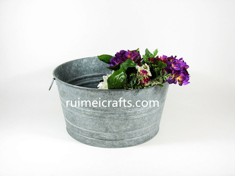 Metal Galvanized Tubs As Planters