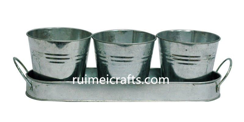 metal flower pot zinc planter garden pot with tray and set of 3