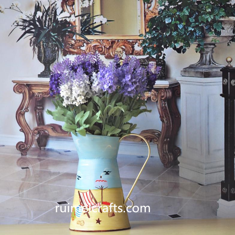 European style hand painted metal flower vase flower pot
