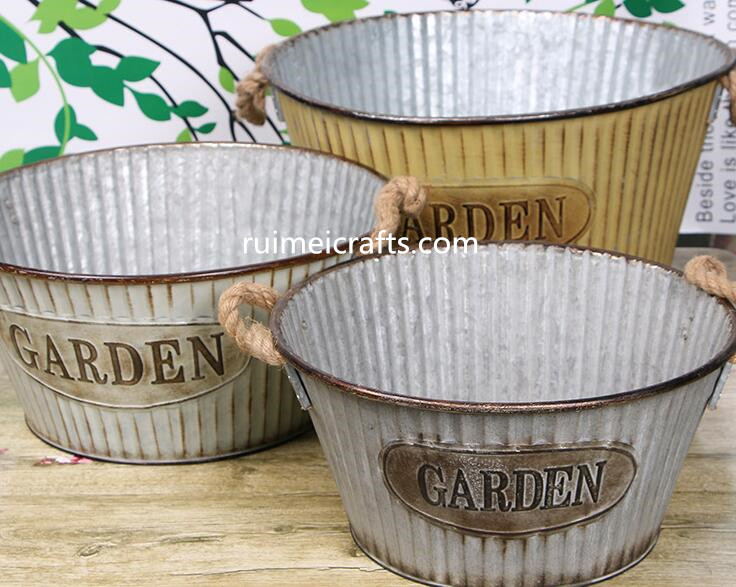 countyard pastoral florist tin pot garden planter