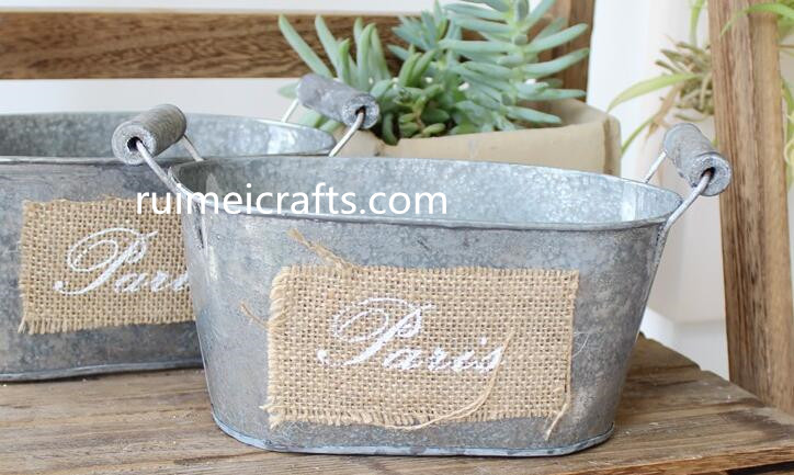 European popular iron sheet garden pot flower bucket tin planter