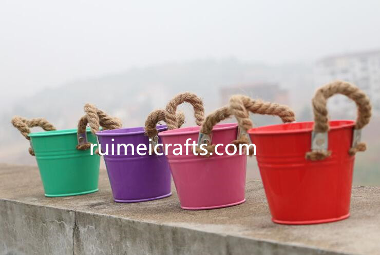 candy color metal floral pot for garden or home decoration or cut flower