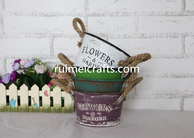 big size colored round vintage metal flower planter garden pot