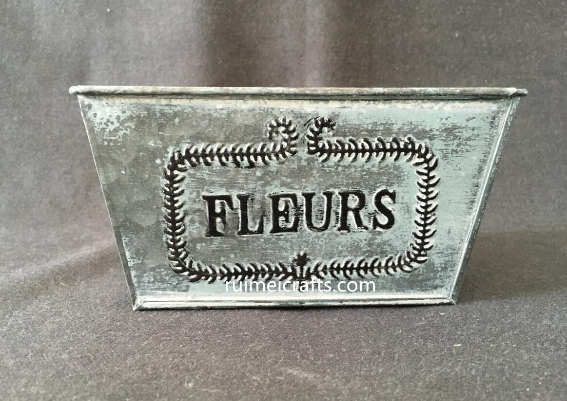 FLEURS logo metal garden flower pot