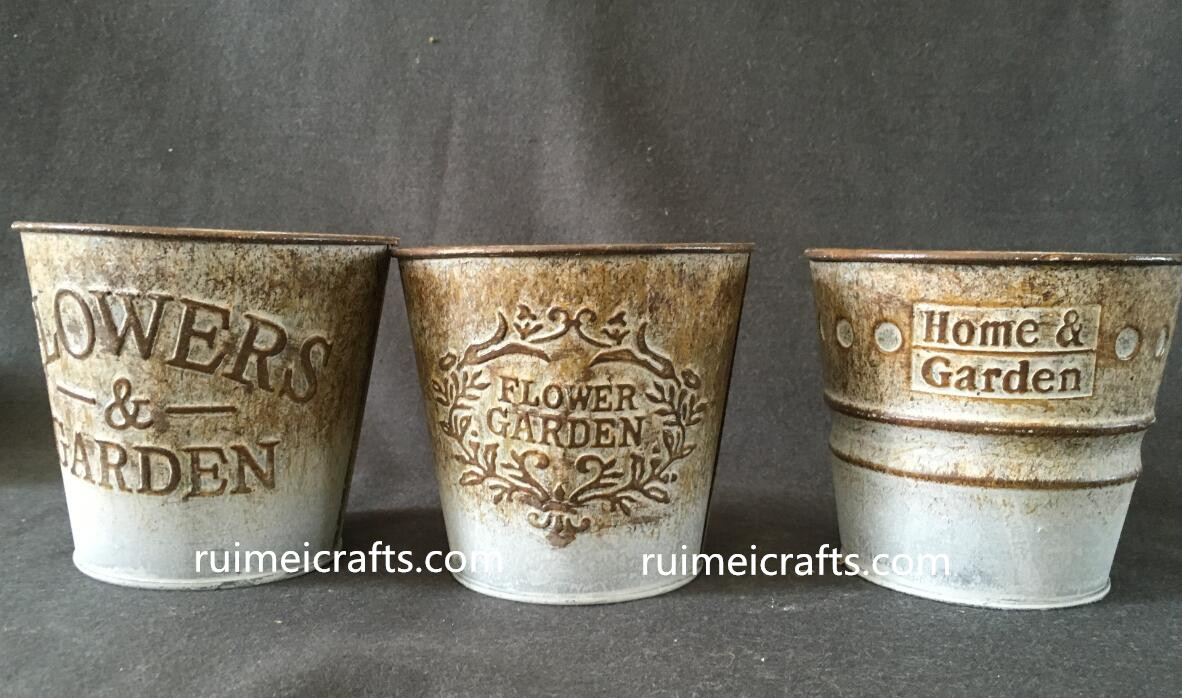 garden flower carving metal buckets