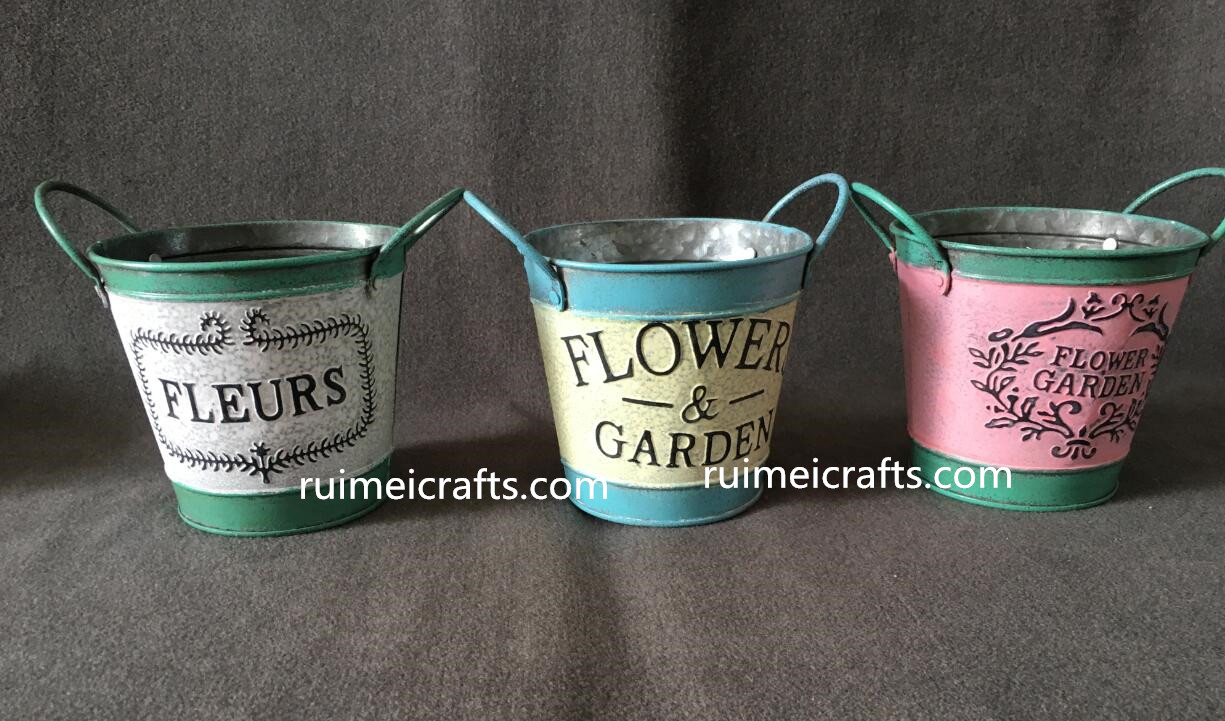 color painted metal pots with emboss logo