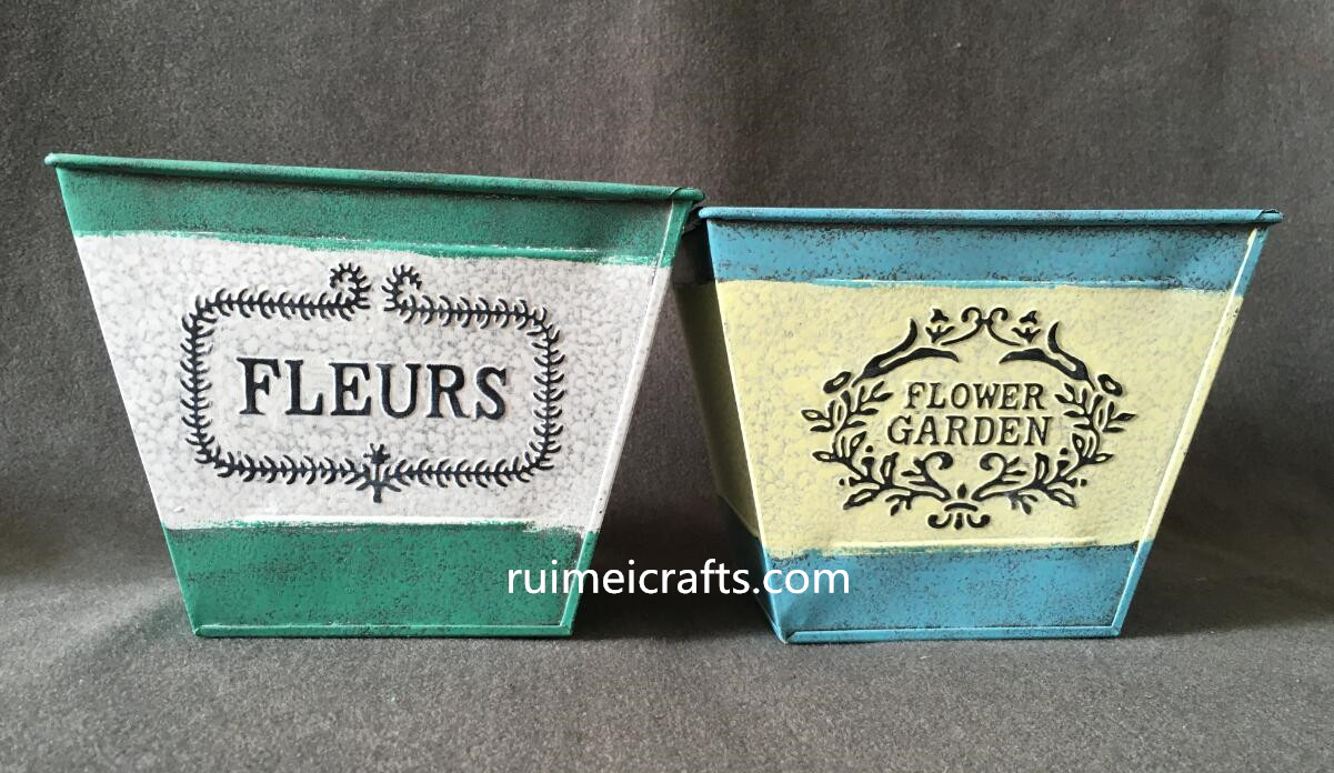 blue whiet yellow green color emboss logo metal baskets