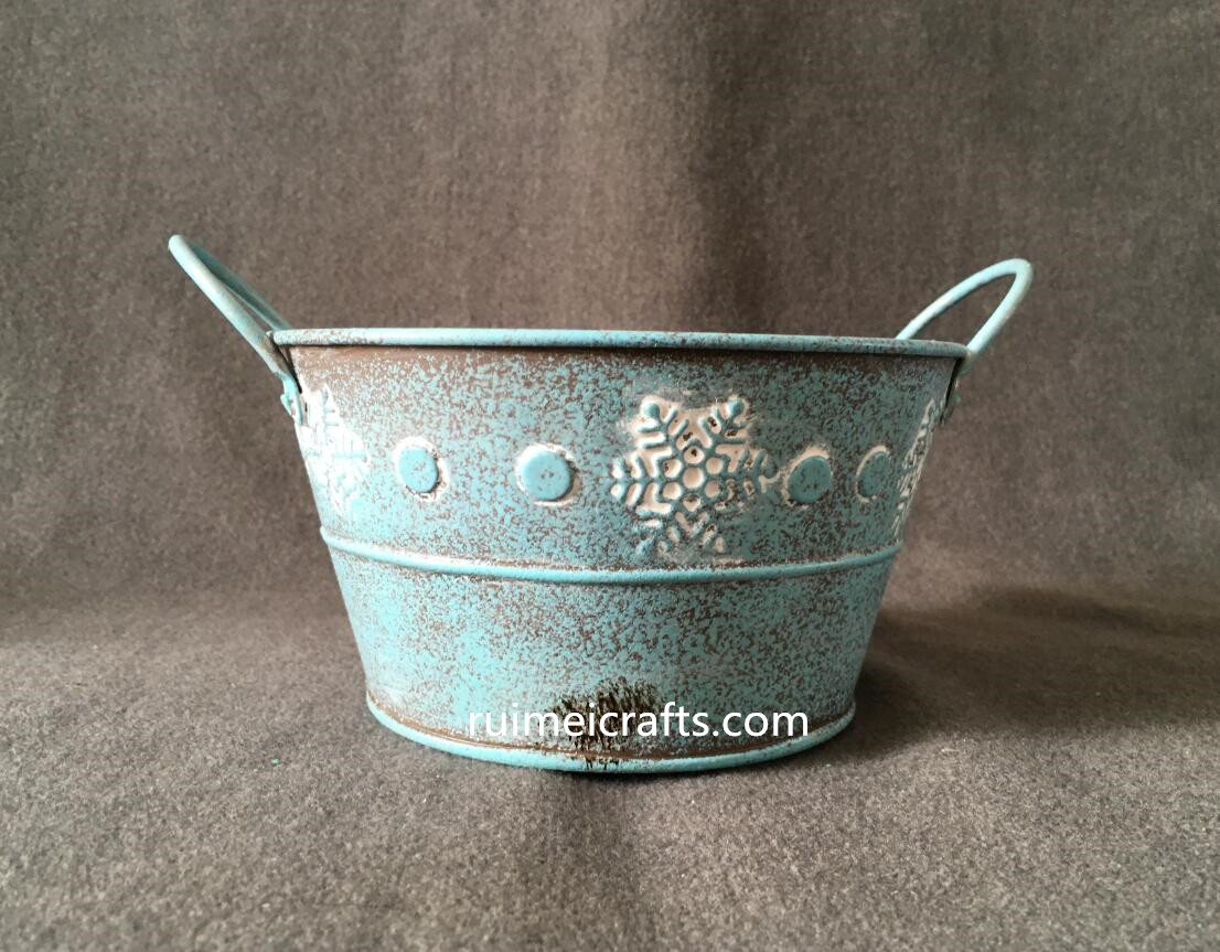 color powder coating metallic iron sheet planter with ears