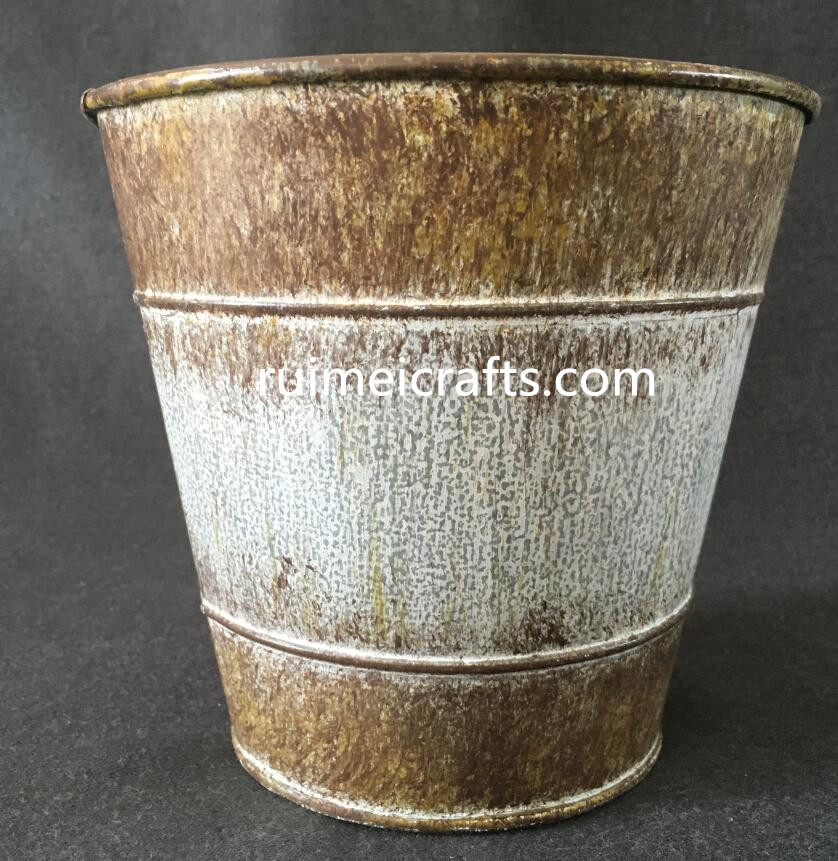 mini rustic gardening flower bucket