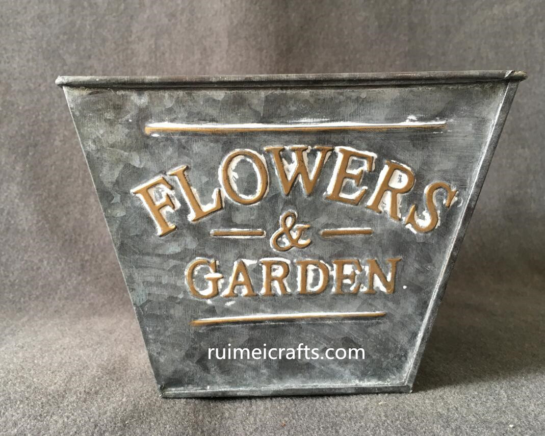 square vintage tin planter
