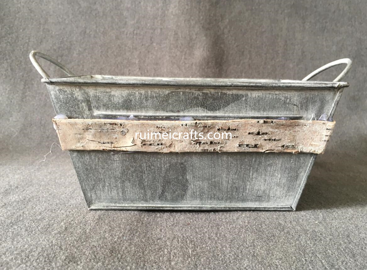 large size shabby metal sheet planter