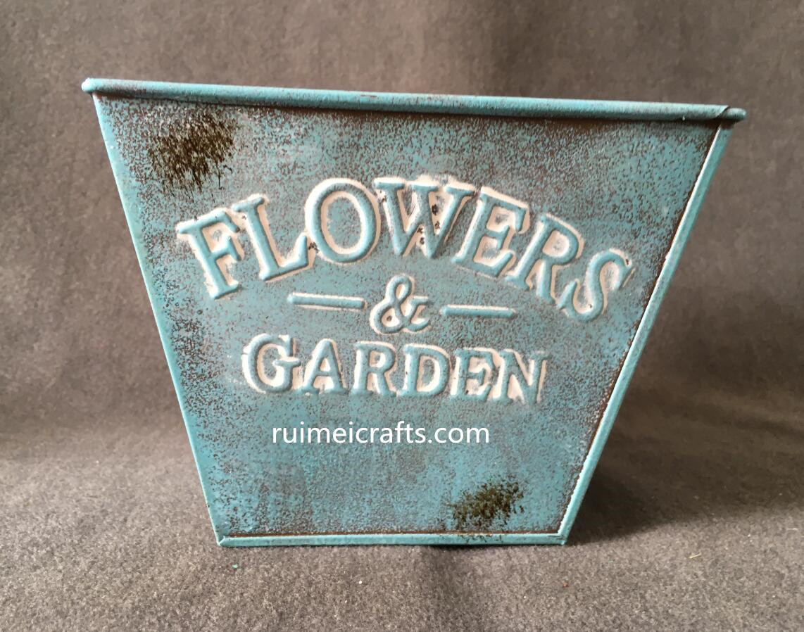 square tin planter