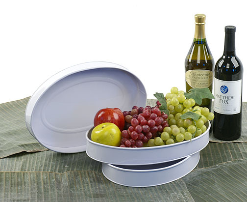 13 inch Oval Shallow Metal Tray
