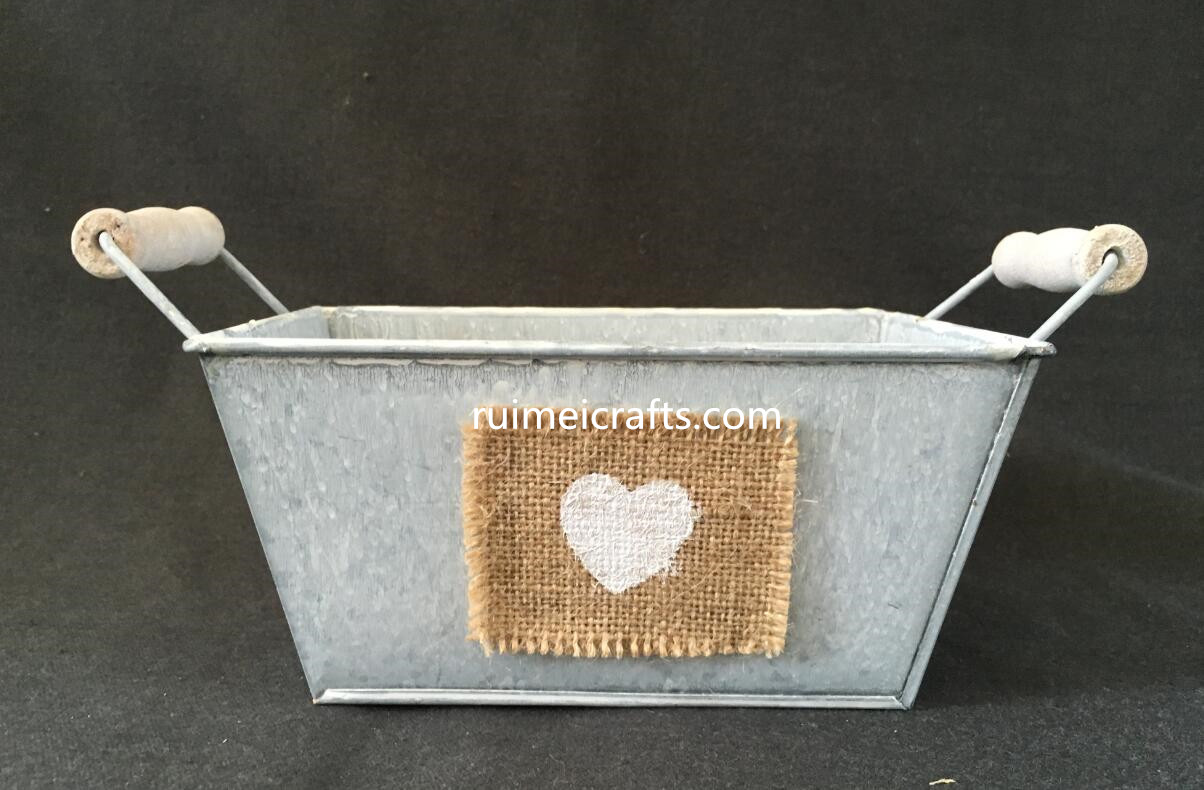 retro metal box with hemp decoration and ears
