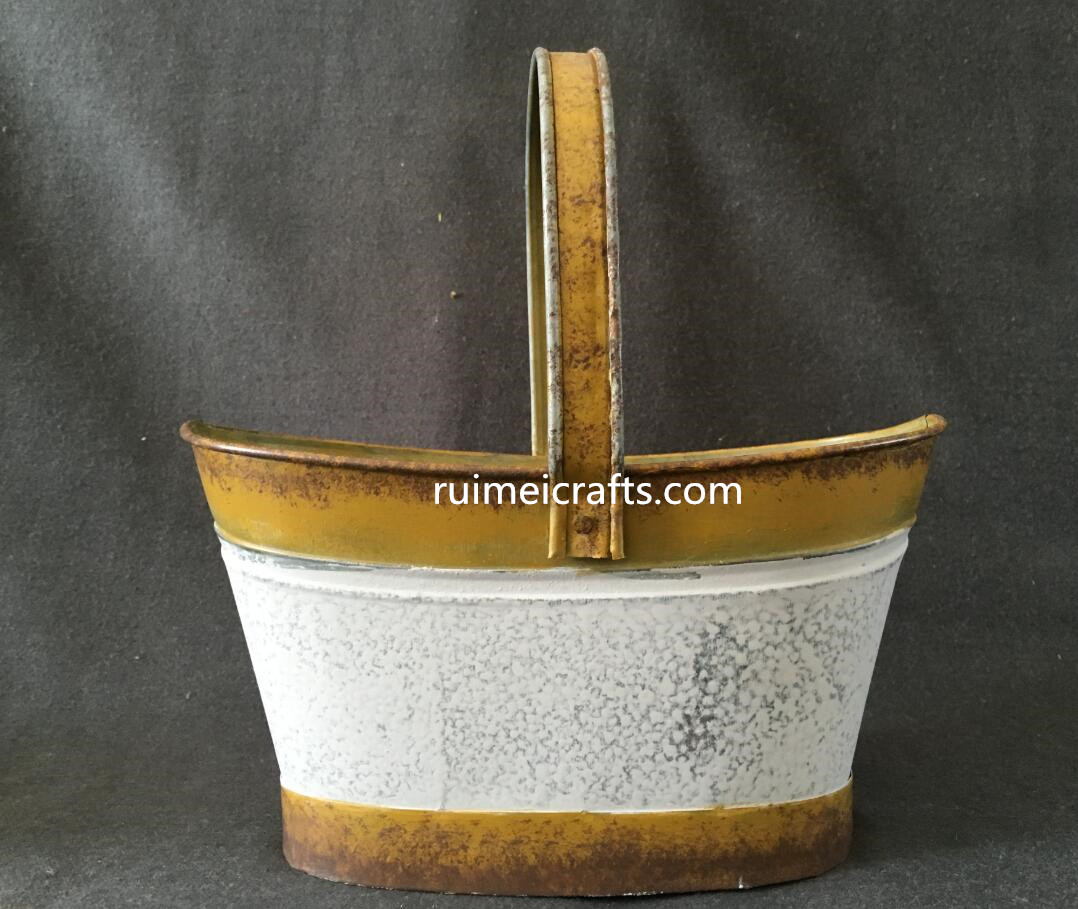 color paint vintage metal garden basket