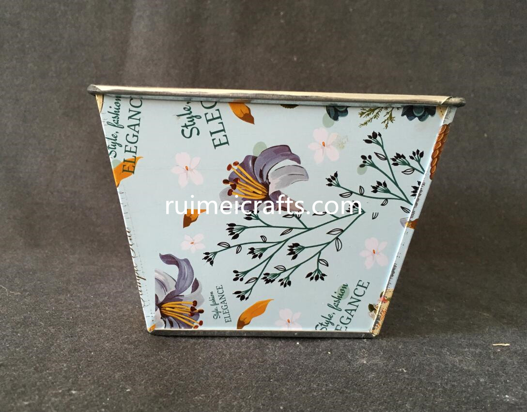 color paper decal square metal pot