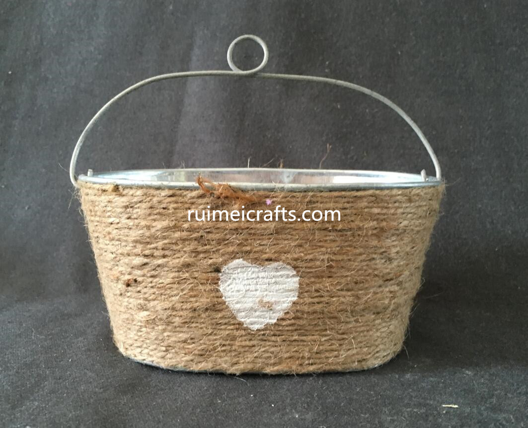 single hanger metal flower pot with sisal decoration