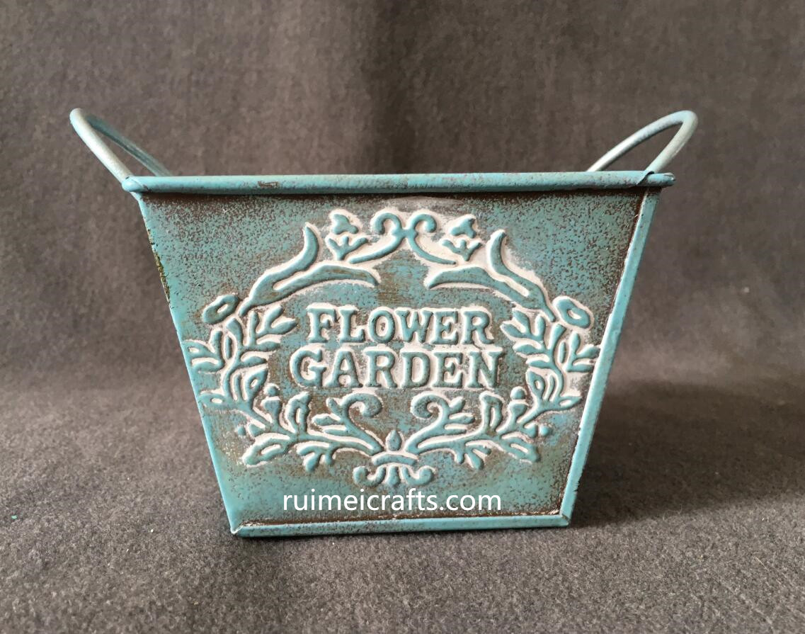 antique square tin box