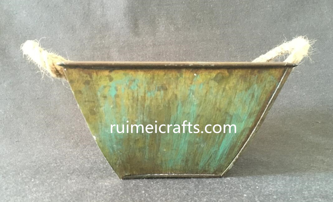 antique brass metal pot with sisal ears