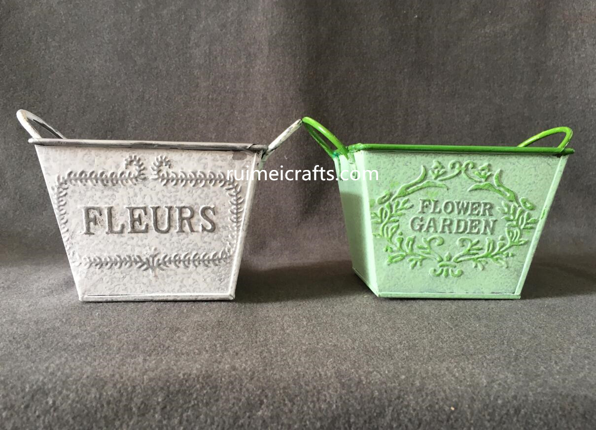 square color vintage emboss logo metal handles pot
