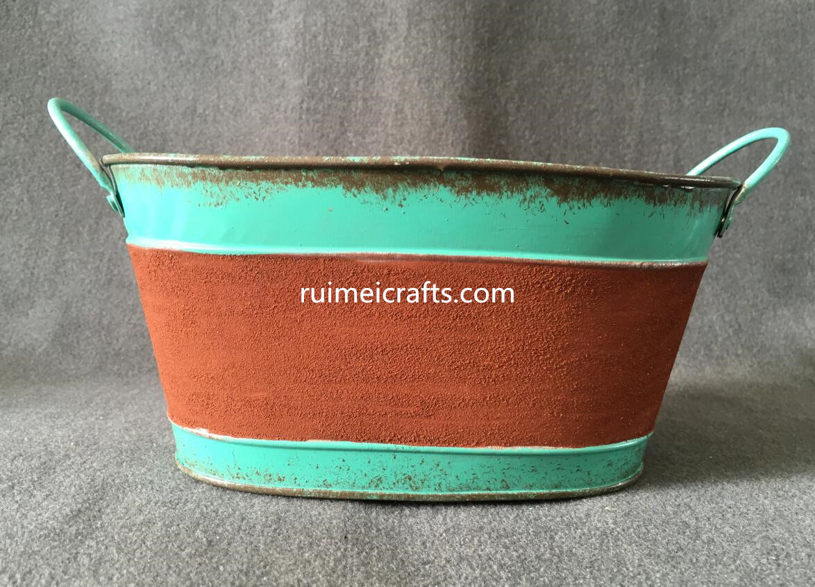rusty finishing metallic iron sheet big size storage pot