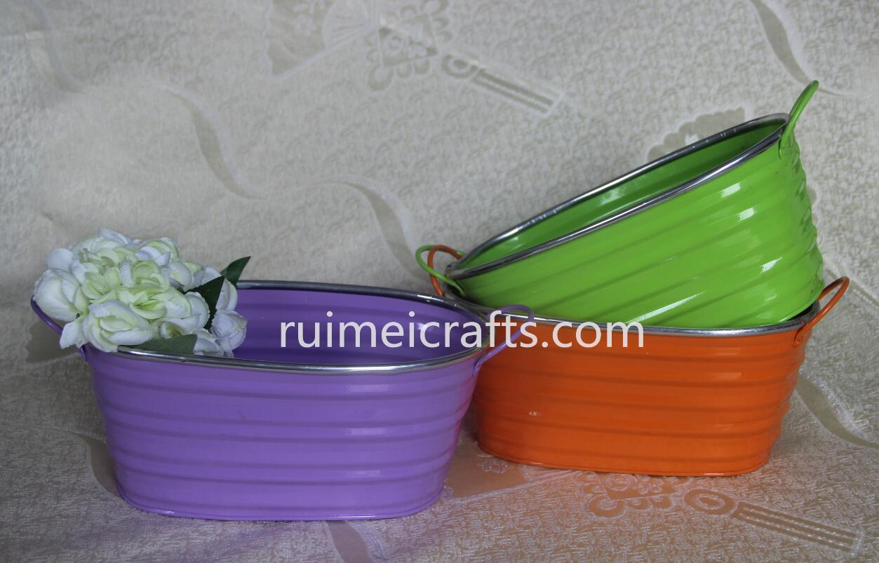 rim edge colored emboss stripe storage pail with ears