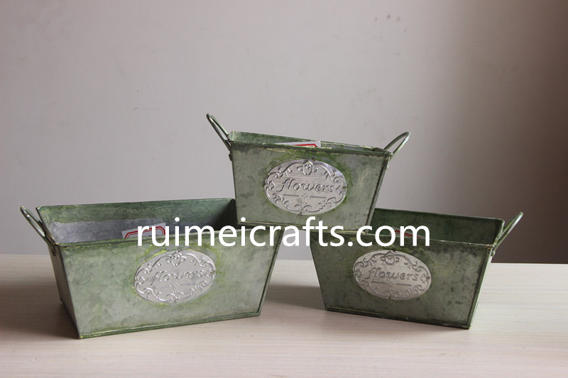 set of 3 square iron storage box for decoration