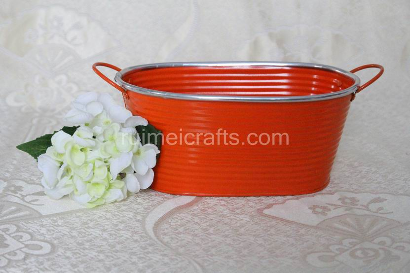 Orange Oval Garden Storage Pots With Handle