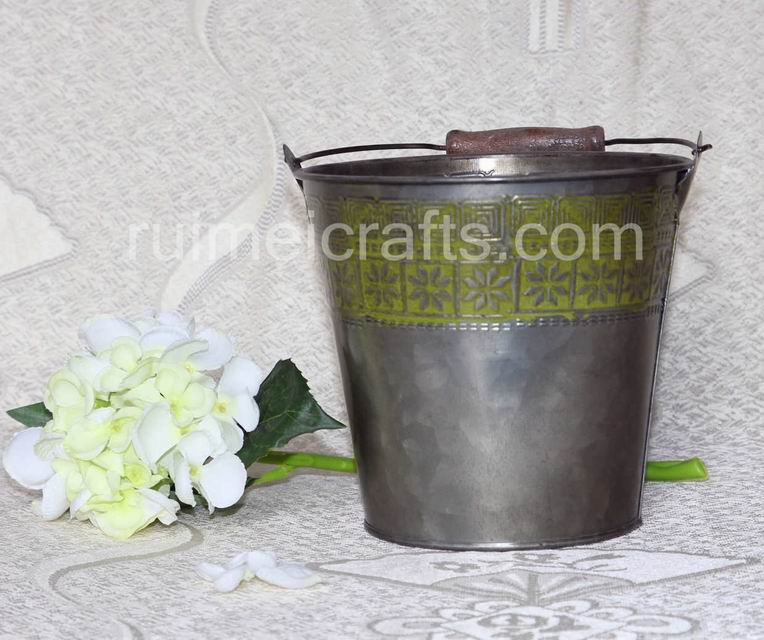 Antique Iron Yelloe Bucket