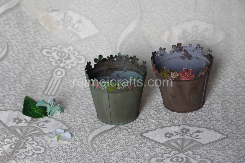 Antique Iron  Flower Pots