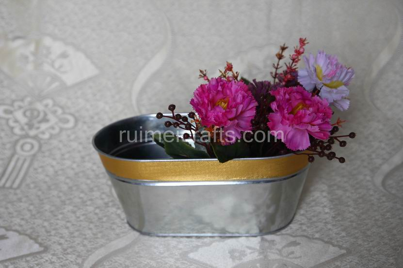 METAL OVAL STORAGE POT