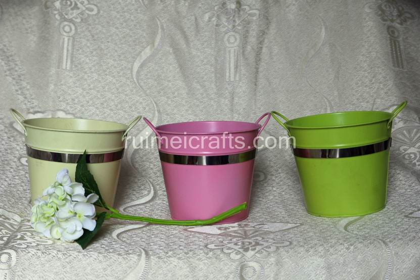Round Garden Flower Pots With Handle