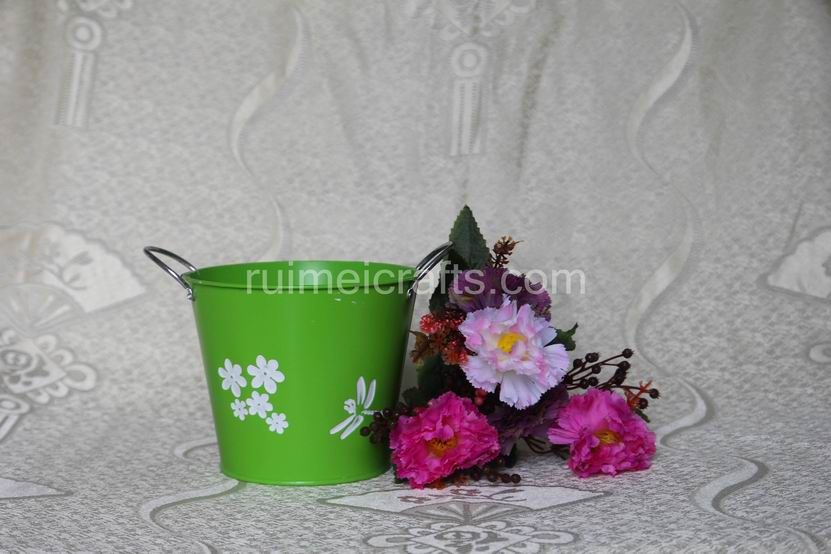 Green Round Garden Flower Pots With Handle