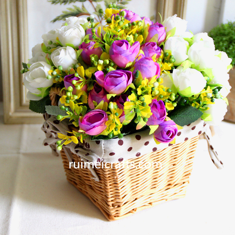 cut flower Square Rattan Storage Basket Vase Home Table.jpg